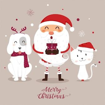 Tarjeta de felicitación navideña con santa claus, gato y perro.