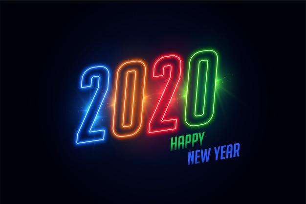 Tarjeta de felicitación de neón brillante colorido feliz año nuevo 2020 brillante
