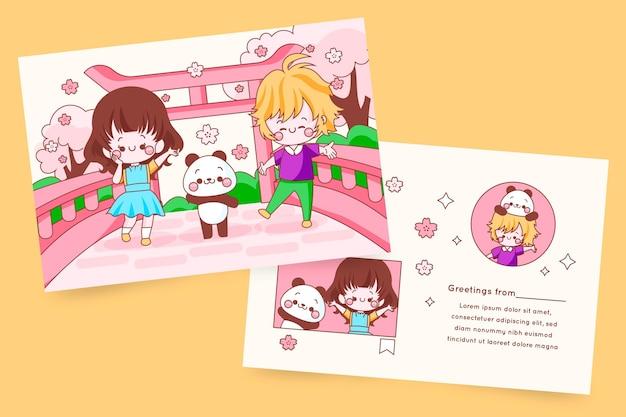 Tarjeta de felicitación con niños kawaii y panda.