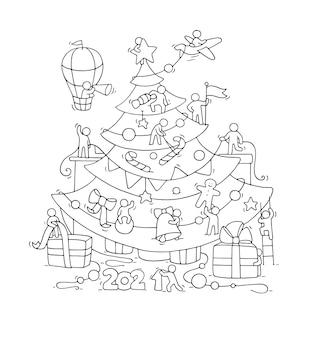 Tarjeta de felicitación de nochevieja. ilustración de dibujos animados doodle con gente pequeña se prepara para la celebración.