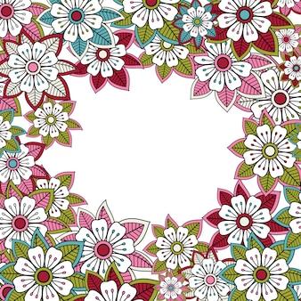 Tarjeta de felicitación o invitación floral rosa