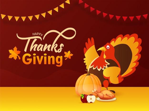 Tarjeta de felicitación o póster con ilustración de pájaro de pavo, calabaza, manzana y pollo para la celebración del día de acción de gracias feliz.