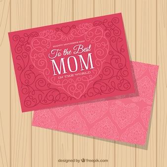 Tarjeta de felicitación ornamental para el día de la madre