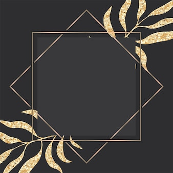 Tarjeta de felicitación de oro y oscuro de lujo con marco de hojas tropicales