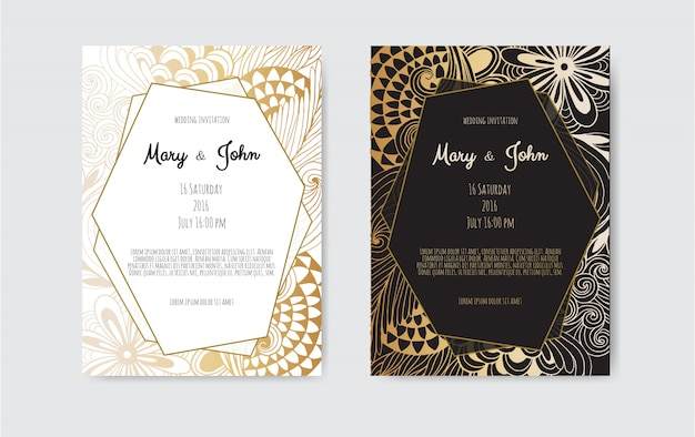 Tarjeta de felicitación de oro de la vendimia en negro
