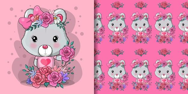 Tarjeta de felicitación del oso con flores y corazones
