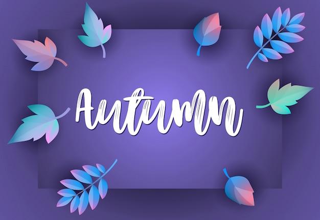 Tarjeta de felicitación de otoño con violeta