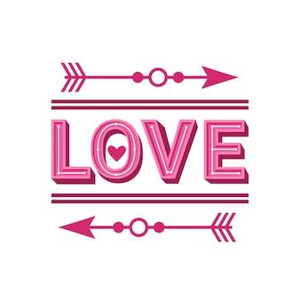 Tarjeta de felicitación de la palabra amor con diseño de flechas