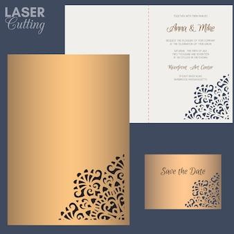 Tarjeta de felicitación de papel con borde de encaje. invitación de boda o plantilla de tarjeta de felicitación. apto para láser o troquelado.