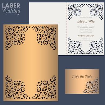 Tarjeta de felicitación de papel con borde de encaje. plantilla de invitación de boda apto para láser o troquelado.