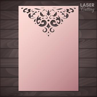 Tarjeta de felicitación de papel con borde de encaje. recorte la plantilla para cortar. apto para corte por láser.