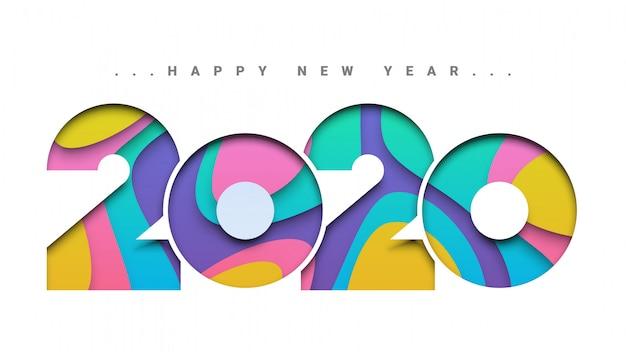 Tarjeta de felicitación de papel colorido corte feliz año nuevo 2020
