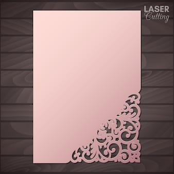 Tarjeta de felicitación de papel con esquina de encaje. recorte la plantilla para cortar. apto para corte por láser.