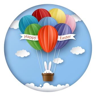 Tarjeta de felicitación de pascua feliz en estilo de corte de papel
