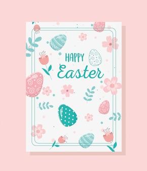Tarjeta de felicitación de pascua feliz flor huevos follaje decoración