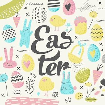 Tarjeta de felicitación de pascua feliz con huevos y flores