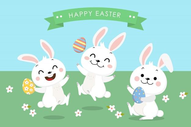 Tarjeta de felicitación de pascua feliz con lindo conejito blanco y huevos.