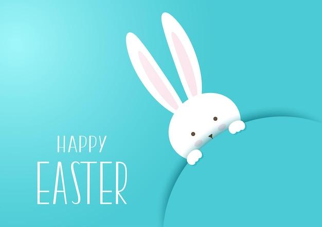 Tarjeta de felicitación de pascua feliz con lindo diseño de conejito