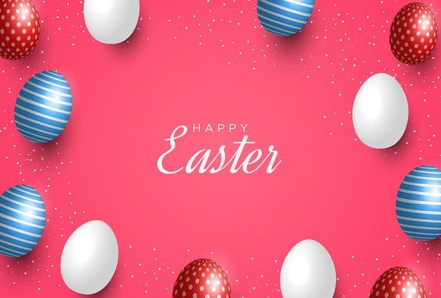 Tarjeta de felicitación de pascua con huevos