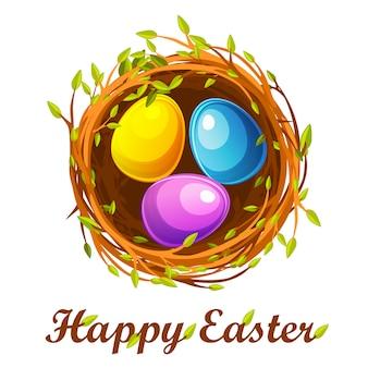 Tarjeta de felicitación de pascua, nido de pájaro y huevos de colores
