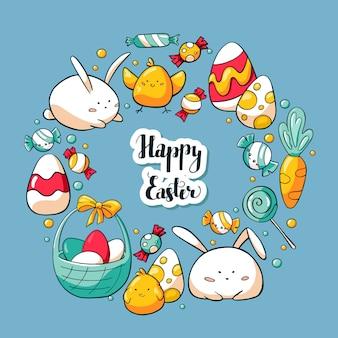 Tarjeta de felicitación de pascua de primavera en estilo de dibujos animados