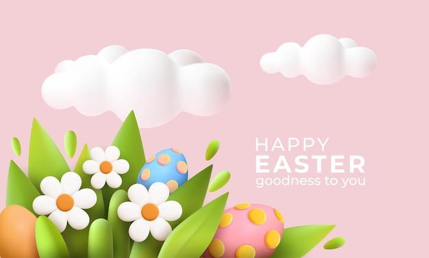 Tarjeta de felicitación de pascua realista de moda 3d, banner con flores, huevos de pascua y nubes