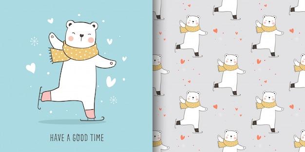 Tarjeta de felicitación y patrón de oso polar