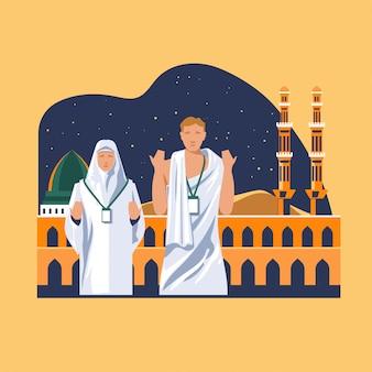 Tarjeta de felicitación de peregrinación de musulmanes rezando a dios en la mezquita de nabawi por el hayy en el islam