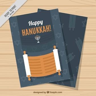 Tarjeta de felicitación con pergamino para hanukkah