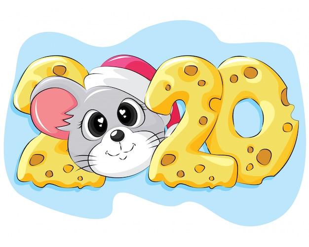 Tarjeta de felicitación plana de año nuevo 2020 con mouse y queso