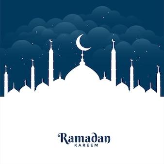 Tarjeta de felicitación plana de la mezquita de ramadan kareem