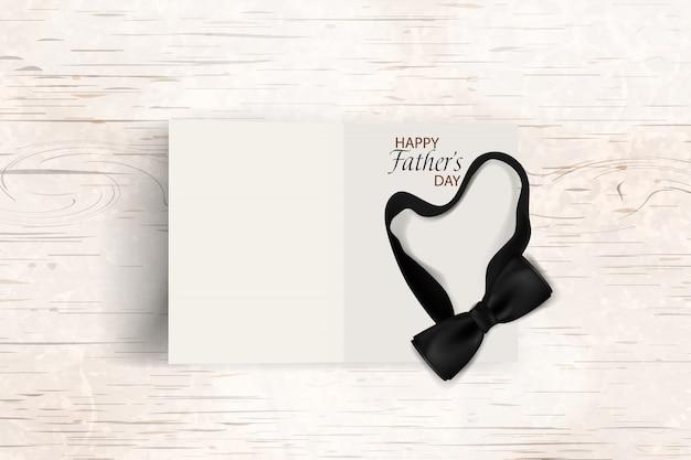 Tarjeta de felicitación de plantilla de feliz día del padre. diseño con pajarita negra