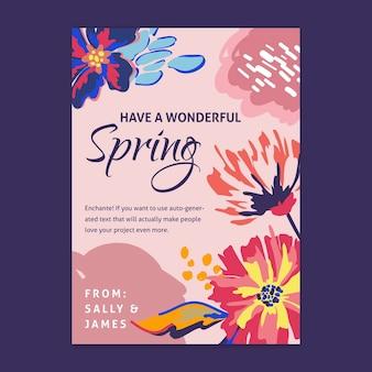 Tarjeta de felicitación de primavera plana