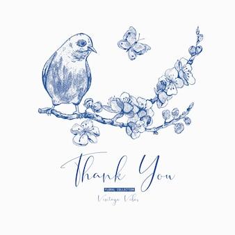 Tarjeta de felicitación de primavera, ramas florecientes azules de cereza, pájaro