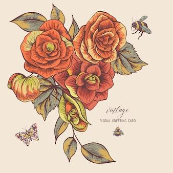 Tarjeta de felicitación de primavera vintage con flores de begonia
