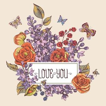 Tarjeta de felicitación de primavera vintage con flores florecientes de begonia, lila