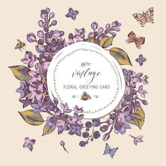 Tarjeta de felicitación de primavera vintage con flores florecientes de lila