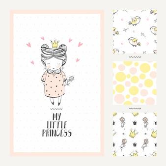 Tarjeta de felicitación de princesa niña y tres patrones sin costuras.