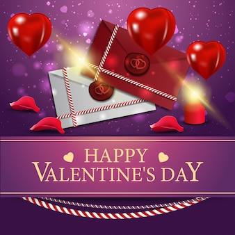 Tarjeta de felicitación púrpura para el día de san valentín con cartas de amor