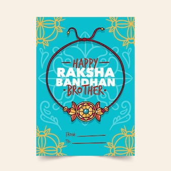 Tarjeta de felicitación de raksha bandhan dibujada a mano