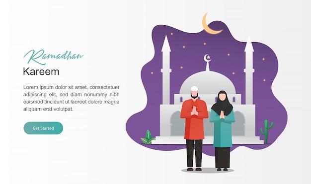 Tarjeta de felicitación de ramadán hombre y mujer personaje musulmán con luna creciente, estrellas y mezquita