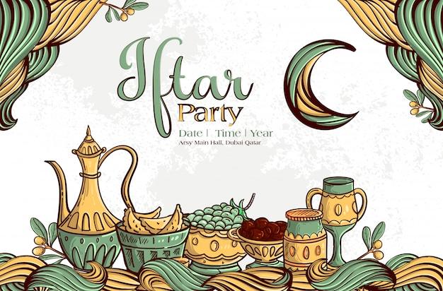 Tarjeta de felicitación de ramadán iftar party con fechas dibujadas a mano y comida islámica sobre fondo blanco de grunge.