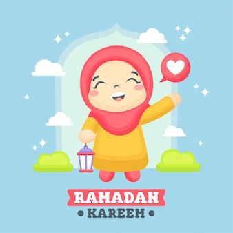 Tarjeta de felicitación de ramadán con ilustración de niña linda