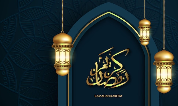 Tarjeta de felicitación de ramadán kareem decorada con linternas árabes y caligrafía