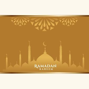 Tarjeta de felicitación de ramadan kareem dorado hermosa