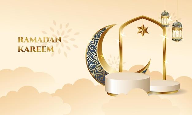 Tarjeta de felicitación de ramadan kareem con escenario de podio, luna creciente y linternas