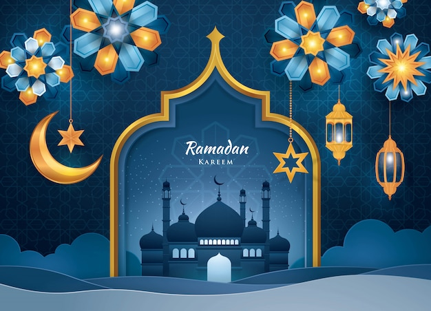 Tarjeta de felicitación ramadan kareem, estilo de arte islámico, arte de papel
