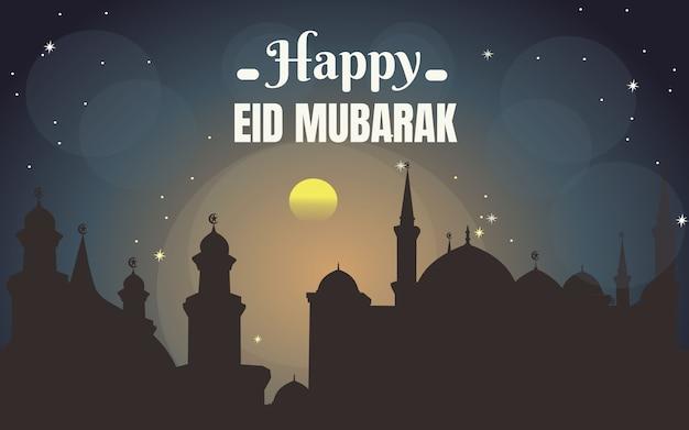 Tarjeta de felicitación de ramadán kareem y feliz eid mubarak con vista a la mezquita y a la colina