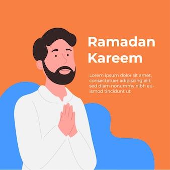 Tarjeta de felicitación de ramadán kareem joven con mano rezando