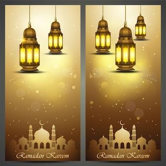 Tarjeta de felicitación de ramadan kareem con linterna de oro